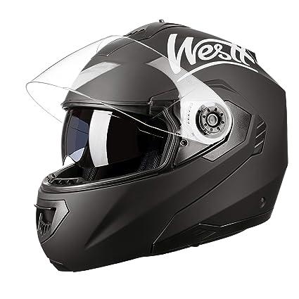 Westt Torque Z · Casco Moto Modular Integral con Doble Visera en Negro Mate · Casco de Moto Motoclicleta Ciclomotor · ECE Homologado