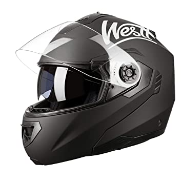 716954f3055 Westt Torque Z · Casco Moto Modular Integral con Doble Visera en Negro Mate  · Casco de Moto Motoclicleta Ciclomotor · ECE Homologado: Amazon.es: Coche  y ...