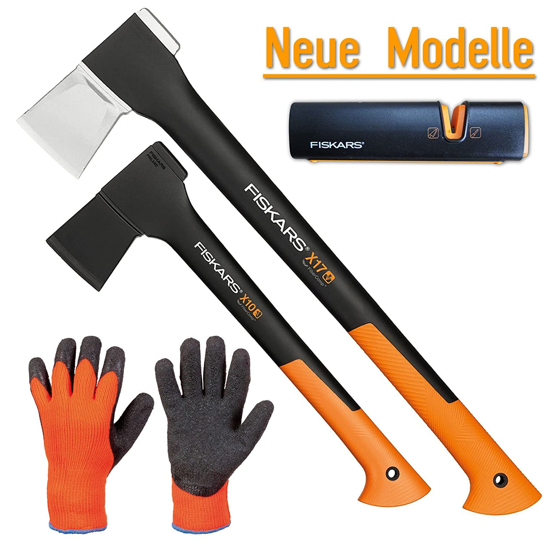FISKARS© Set Spaltaxt X17 - M + Universalaxt X10 - S + Xsharp Axt- und Messerschärfer + Handschuhe
