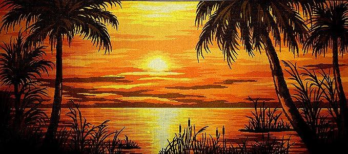 Printed Canvas 247 73x32cm. Hudemas Needlepoint Kit Tropical Sunset 28.7x12.6