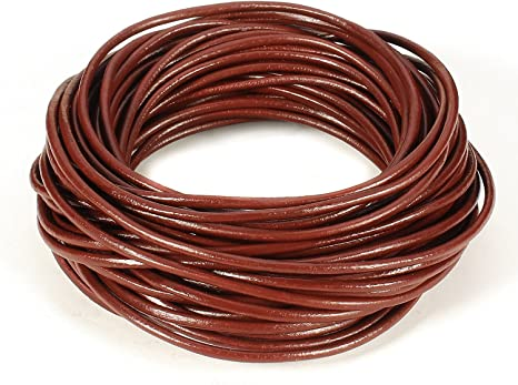 25 Yards Beading Jewelry Crafts Genuine Round Leather Cord 2mm Brown