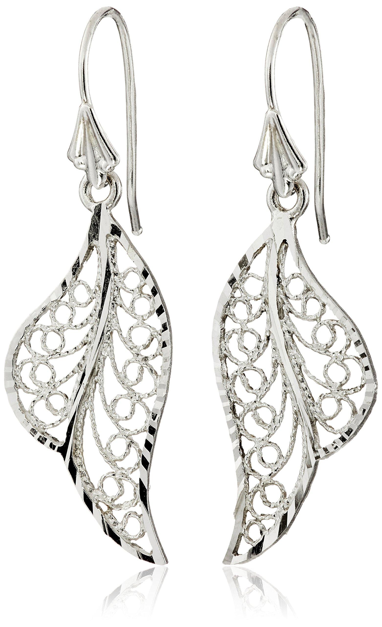 14k White Gold Polished Filigree Drop Earrings