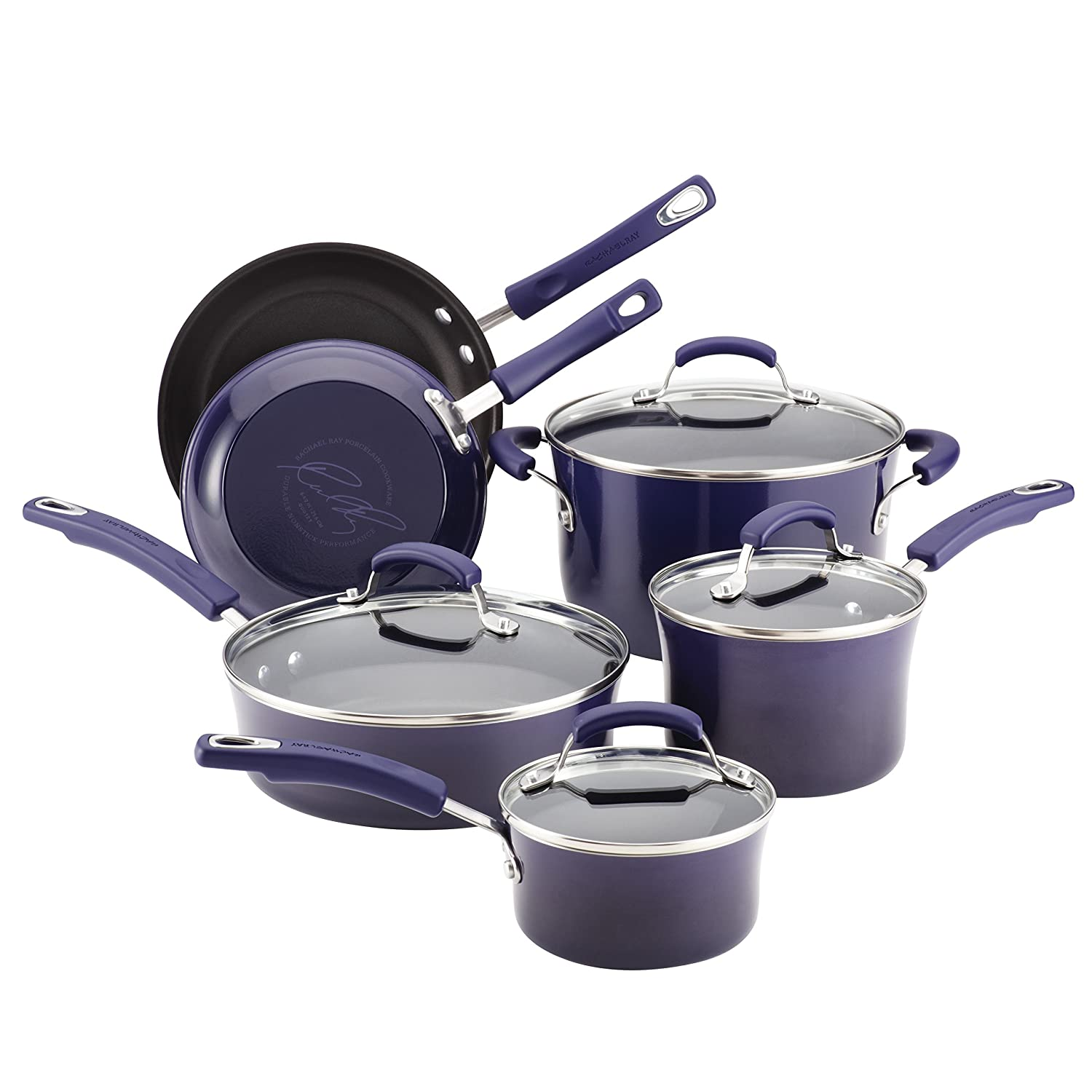 Rachael Ray Porcelain Enamel II Nonstick 10-Piece Cookware Set, Fennel Gradient 12816