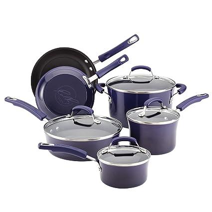 Rachael Ray Porcelain Enamel Ii Nonstick 10 Piece Cookware Set Purple Gradient