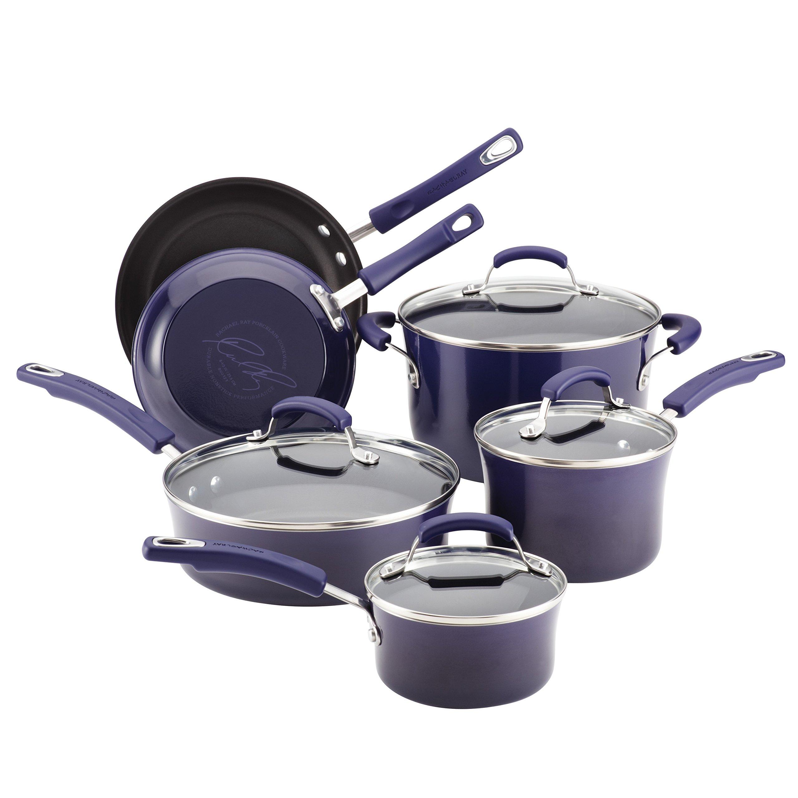 Rachael Ray Classic Brights Hard Enamel Nonstick 10-Piece Cookware Set, Purple Gradient