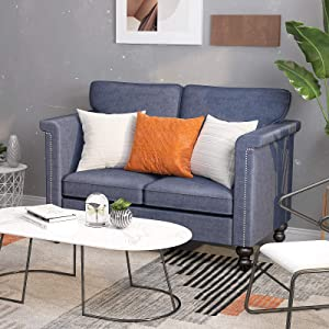 CUGBO Loveseat Sofa, Linen Modern Couch for Compact Living Space Bedroom Apartment Dorm Lounge Room Office Studio, Recliner w Removable Cushions Armrests Wood Legs (Blue Grey)