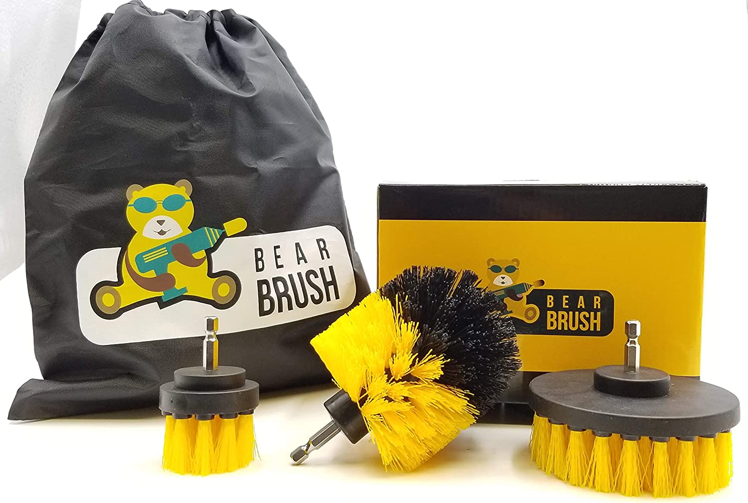 Bear Brush Drill Attachment Power Scrubber Cleaning Set of 3. All Purpose Drill Attachment - Cleaning Made Easy and Effective for Kitchen, Bathroom, Tub, Tile, Driveway, Carpet, Grout and Much More.
