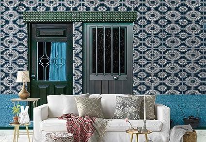 Casa facciata porte piastrelle modello carta da parati in tessuto