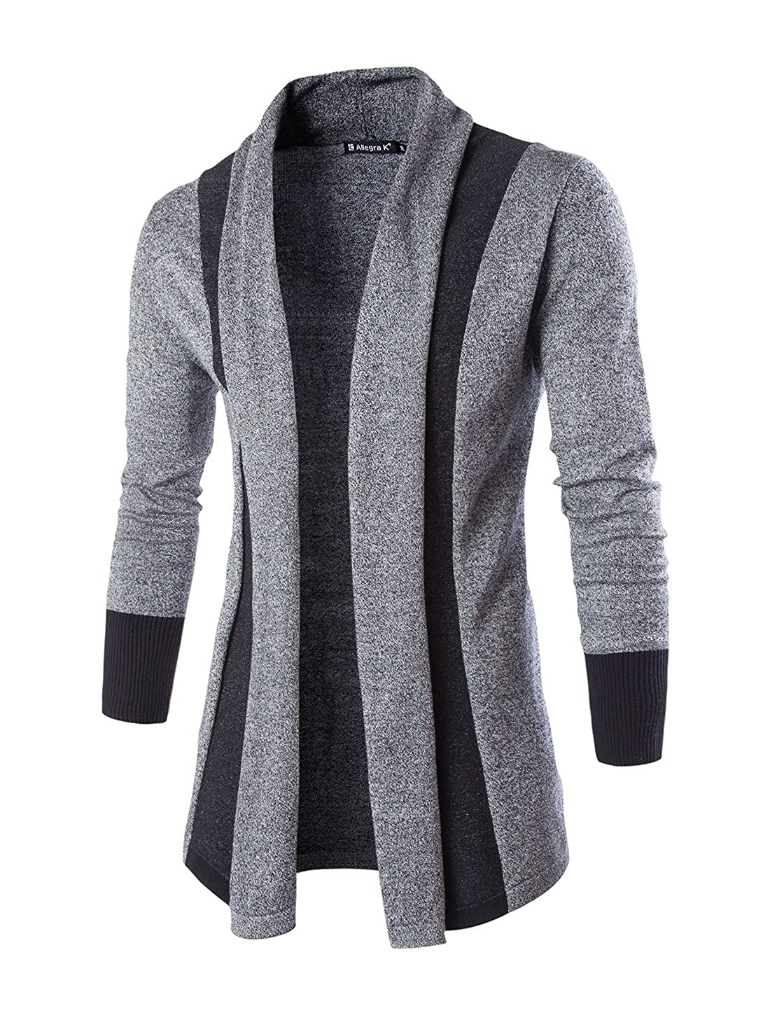 uxcell® Men Shawl Collar Contrast Color Long Sleeves Knit Cardigan Grey L a15110900ux0240