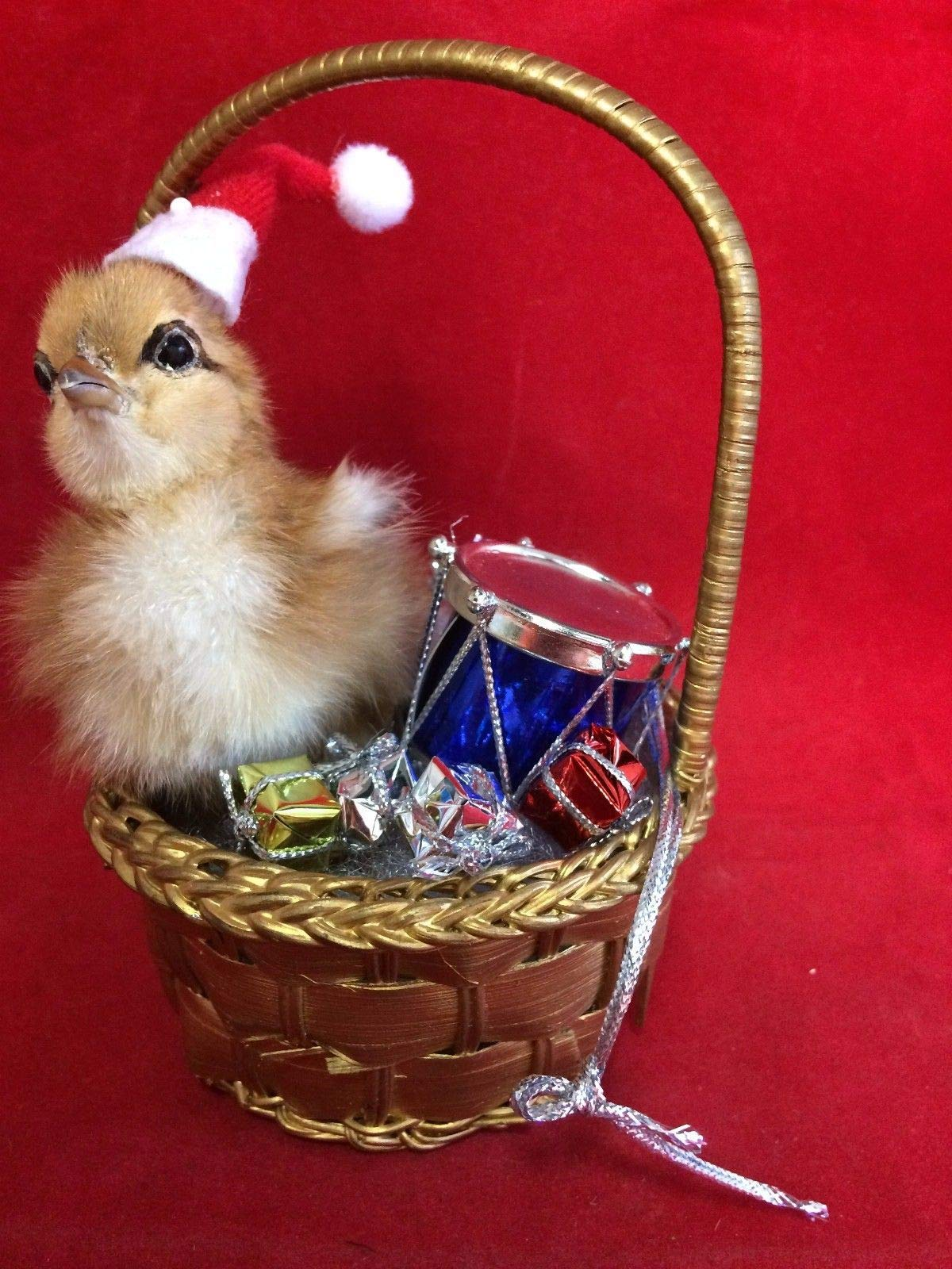Santa Chick Taxidermy Ducky Chicken Christmas Gift in Basket w/Gifts