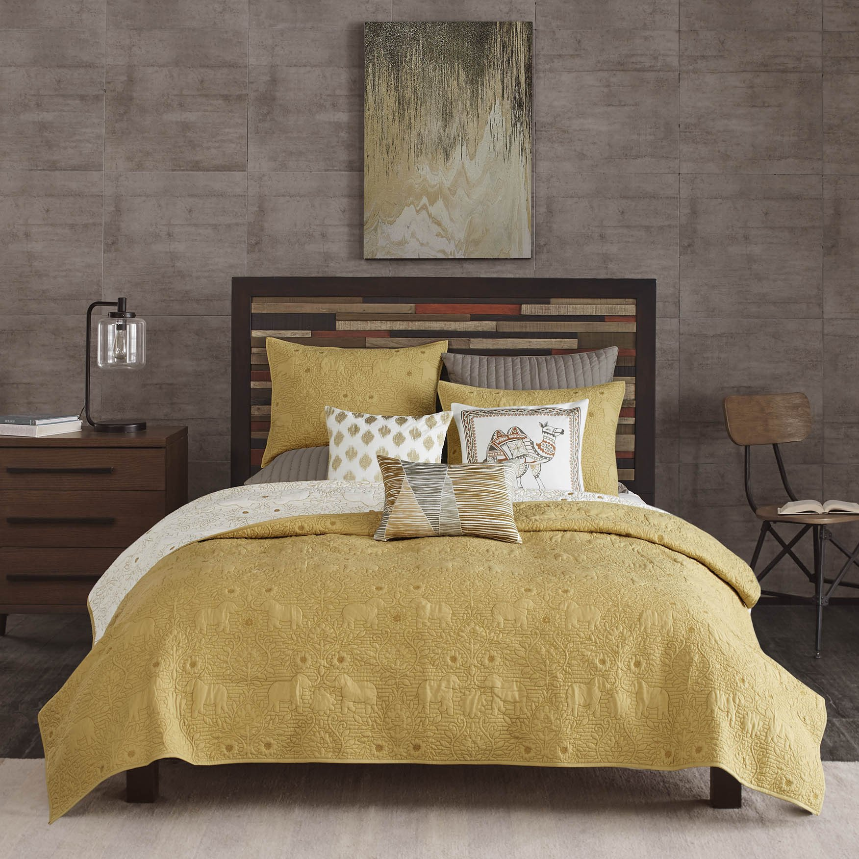 3 Piece Yellow Solid Color Reversible Full Queen Coverlet Set, White Light Yellow Off-white Animal Print Elephant Flowers Quilted Floral Adults Bedding Master Bedroom Comfortable Modern Casual, Cotton