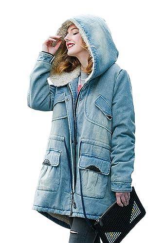 You.U Mujer Nueva Chaqueta de invierno Parkas Hoodie Chaqueta de moda Anorak Denim Chaqueta