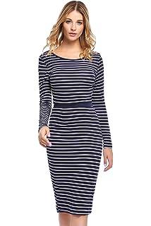 9997cf27a1 ELESOL Women s Classic Striped Dress Scoop Neck A Line Empire Waist Dress  Blue White XL
