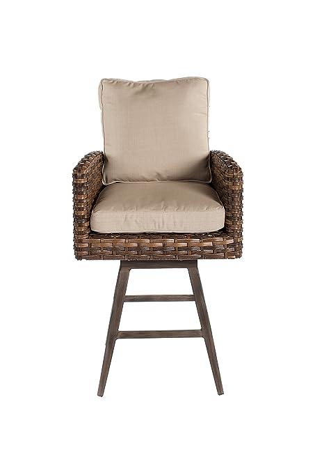 Metropolitan Home Swivel Bar Stool With Cushion, Natural