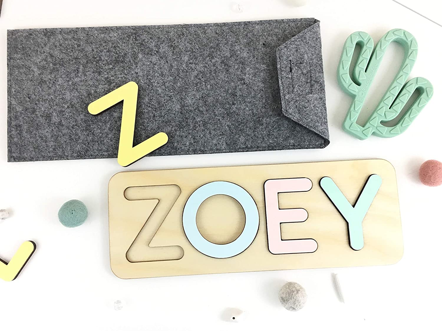 Baby name up to 11 letters Baby Shower custom present Non toxic organic newborn toys Personalized puzzle name board