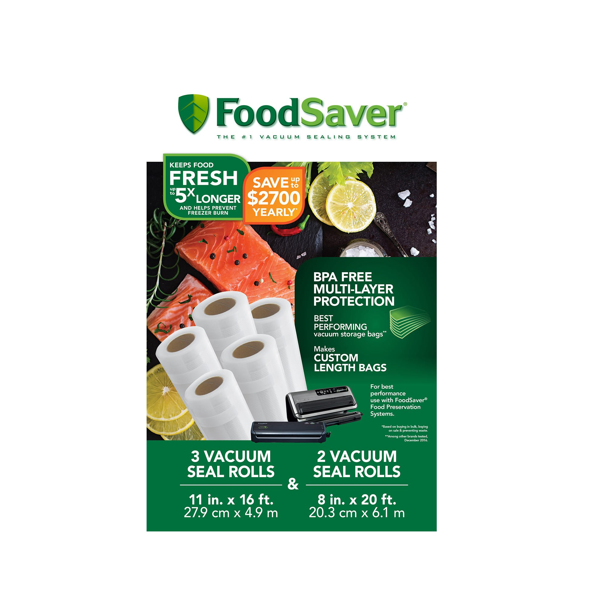 FoodSaver 8'' and 11'' Vacuum Seal Rolls with BPA-Free Multilayer Construction for Food Preservation, Multipack