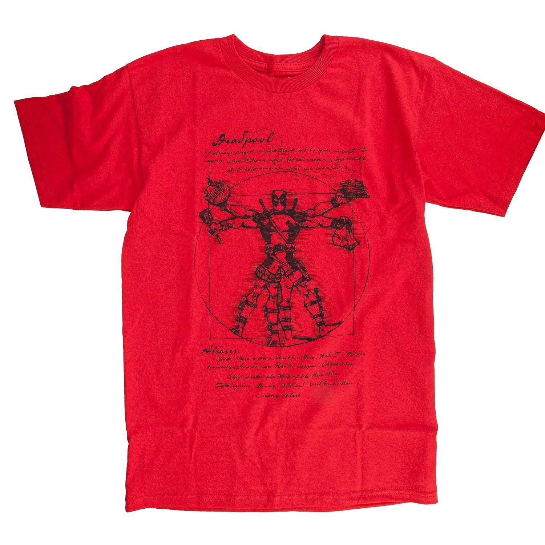 Vitruvian Deadpool Mens Red Shirts
