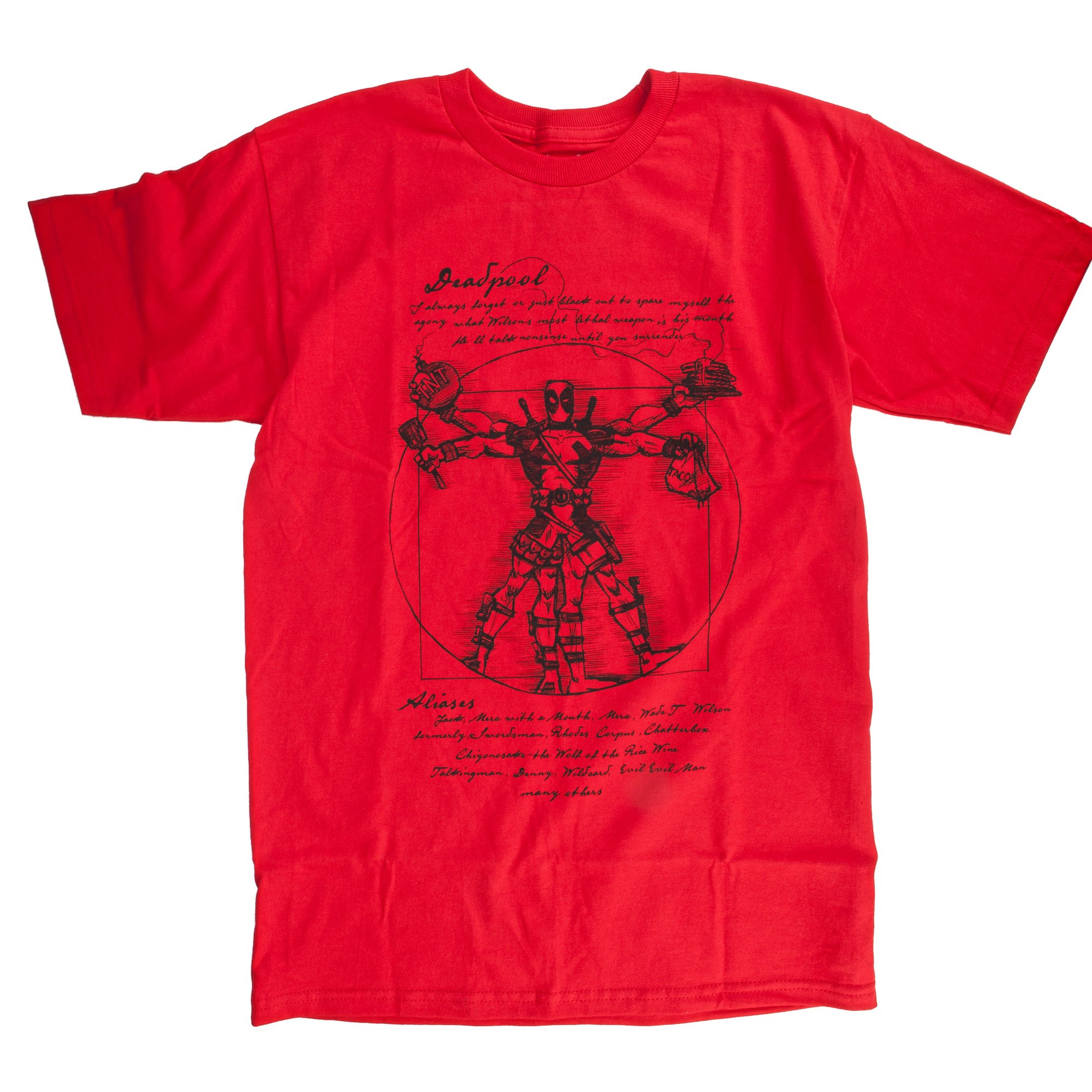 Deadpool Vitruvian T-shirt (Extra Large, Red) by Marvel (Image #1)