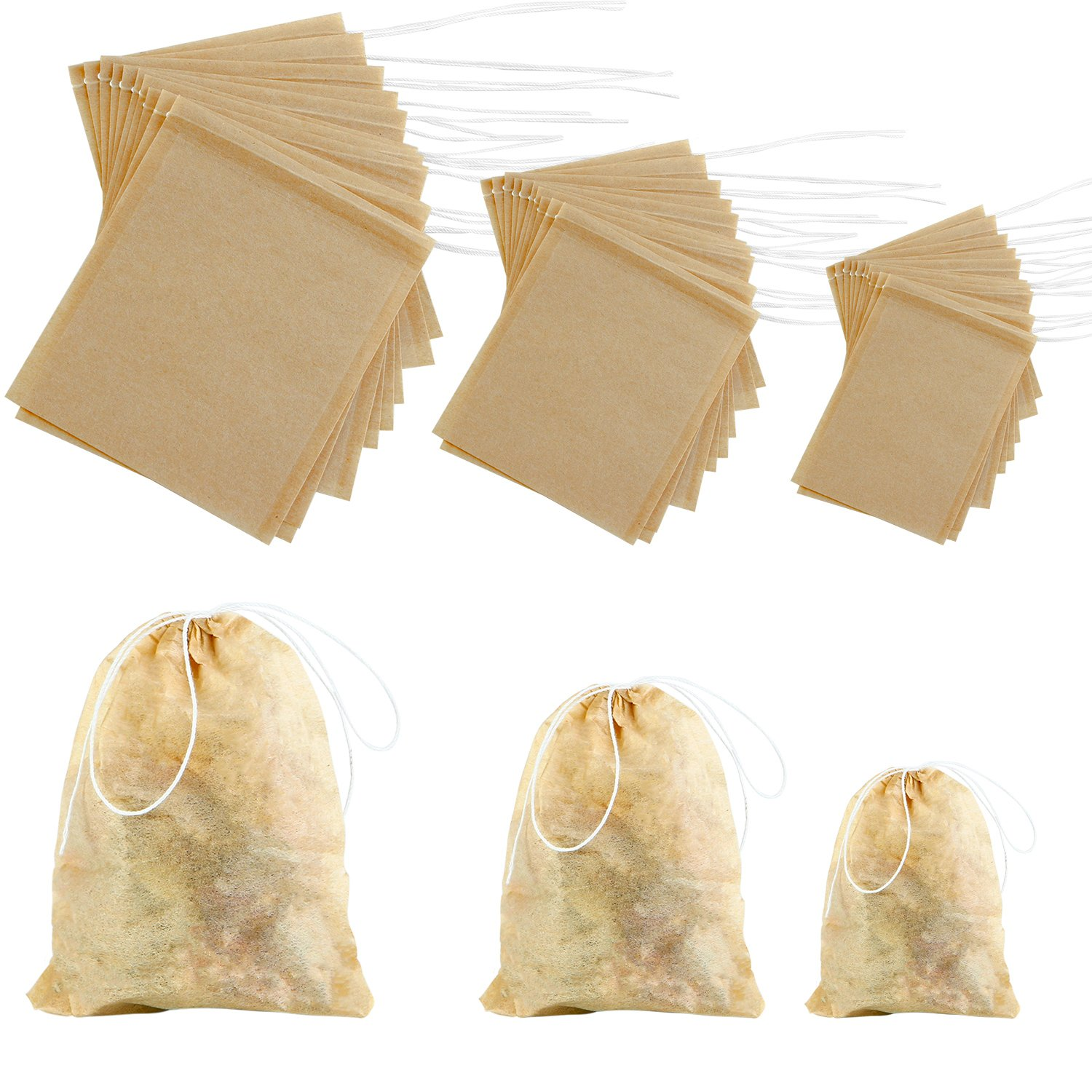 Coobey 300 Pack Tea Filter Bags Disposable Tea Infuser Drawstring Teabags Natural Empty Tea Bag for Loose Leaf Herbs Teas (Natural Color, Mixed Sizes)