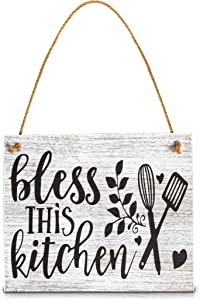 Juvale Farmhouse Hanging Wood Sign, Bless This Kitchen (7.9 x 9.5 Inches)