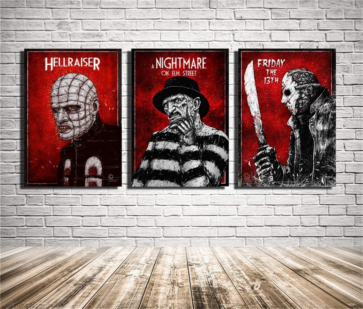 3 Piece Halloween Canvas Paintings Prints Friday The 13th Poster Wall Art Modular Framed Pictures for Living Room Home Decor