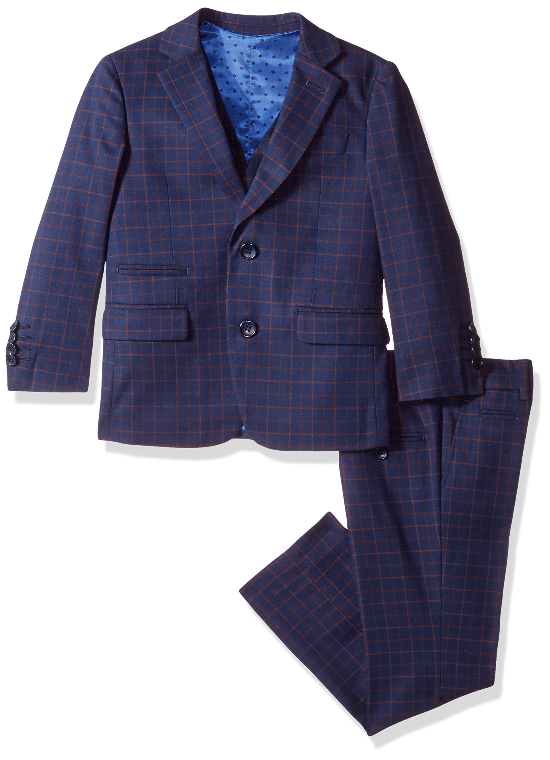 Isaac Mizrahi Big Boys' 3pc Vested Check Suit, Navy/Rust, 16 by Isaac Mizrahi