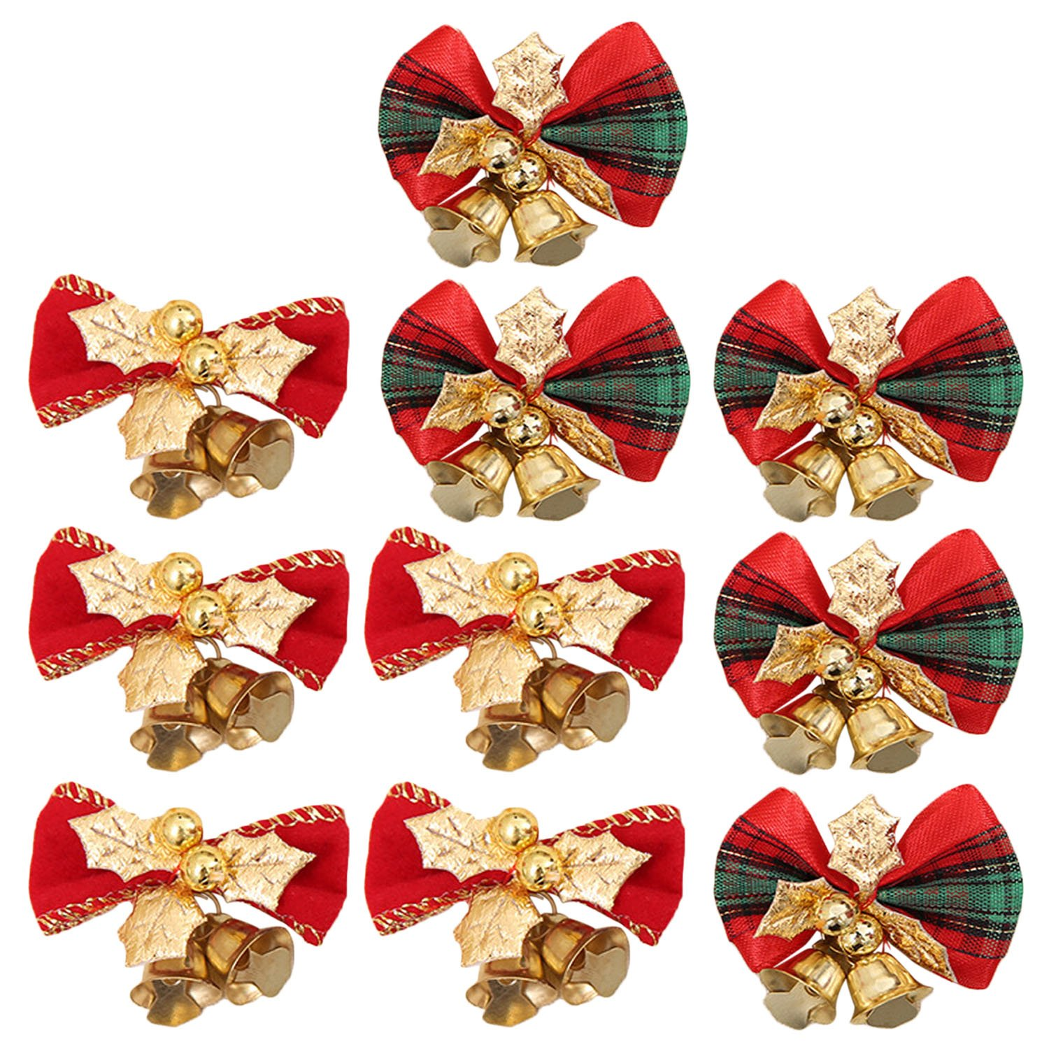 10 PCS Christmas Tree Bow Ornaments with Bell For Christmas Tree Wreaths Party Wedding Decorations Gift Packaging Gosear