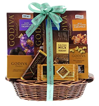 Wine Happy Birthday Gift Basket Containing Godiva Chocolate