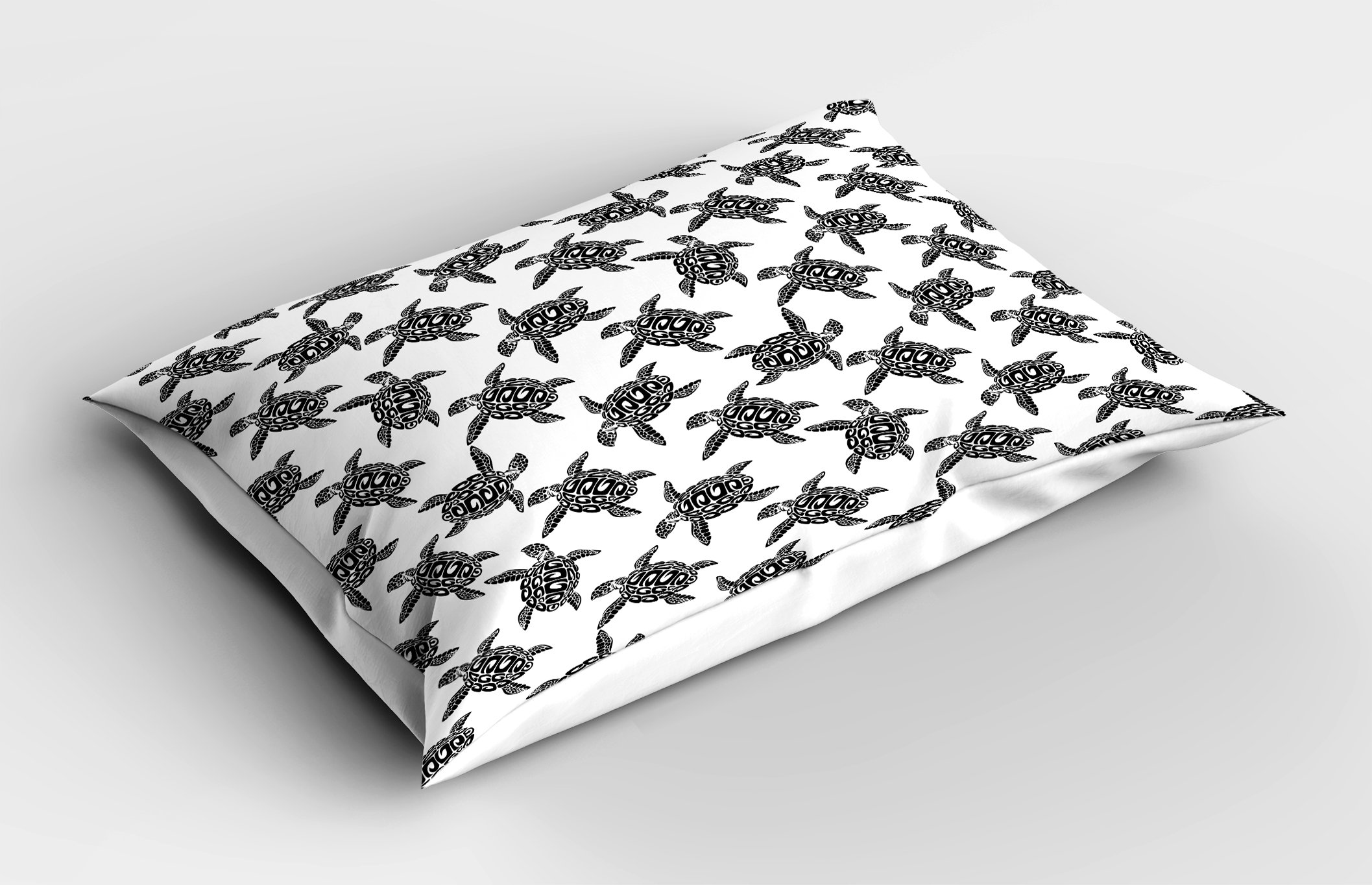 Lunarable Sea Animals Pillow Sham, Monochrome Illustration of Swimming Marine Sea Turtles with Tribal Details, Decorative Standard Queen Size Printed Pillowcase, 30 X 20 inches, Black White by Lunarable (Image #2)