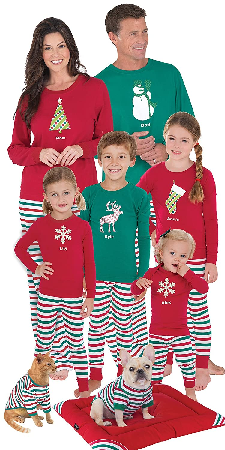 PajamaGram Red and Green Holiday Stripe Matching Family Pajama Set ...