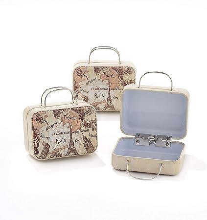 Caja con forma de maleta, de hierro, para guardar dulces, con diseño de viajes y mundo, 12 unidades: Amazon.es: Hogar