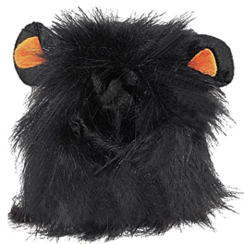 BEETEST León melena mascotas peluca de gato perro mascotas disfraces Halloween Navidad vestir Negro
