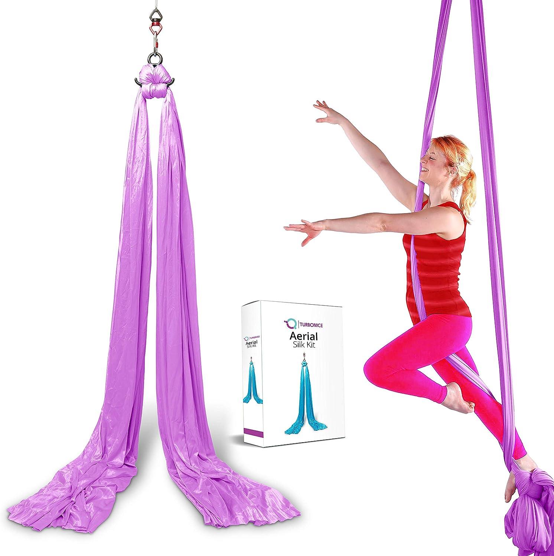 TURBONICE Aerial Silk Cloths - 5 Meter/5.5 Yards Silk - Trapeze Yoga Set - Daisy Chain Clips - Carabiners - Swivel - Figure 8 Descender - Pro Equipment - Hammock Swing - Indoor/Outdoor - 5 Colors
