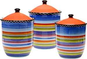 Certified International Tequila Sunrise 3-Piece Canister Set, 56-Ounce, 68-Ounce and 96-Ounce