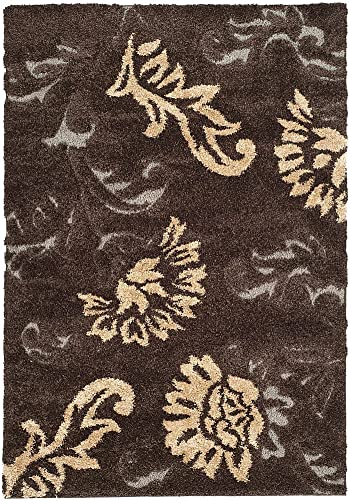 Safavieh Shag Flokati Collection Rug Dark Brown Smoke 10 L x 8 W Large Rectangle