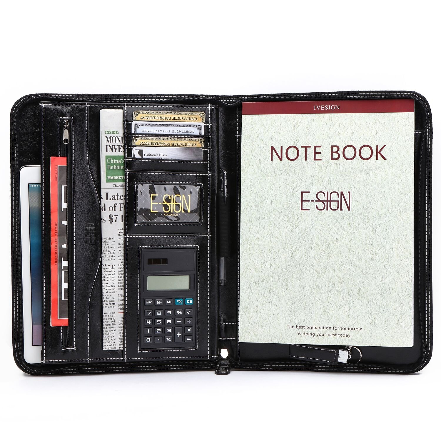 IVESIGN PU Leather Business Padfolio Portfolio with Calculator and Writing Pad, Professional Interview Padfolio with Zippered Closure, Interior 10.1 inch Tablet Sleeve (Black) by IVESIGN (Image #1)