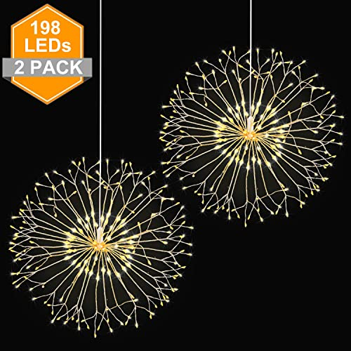 Wellerly Fairy String Lights, 2 Pack 8 Modes 198 LED Fireworks Starburst Dandelion Fairy Lights Battery Operated DIY Hanging Remote Control Waterproof Decorative Sliver Wire for Party – Warm White