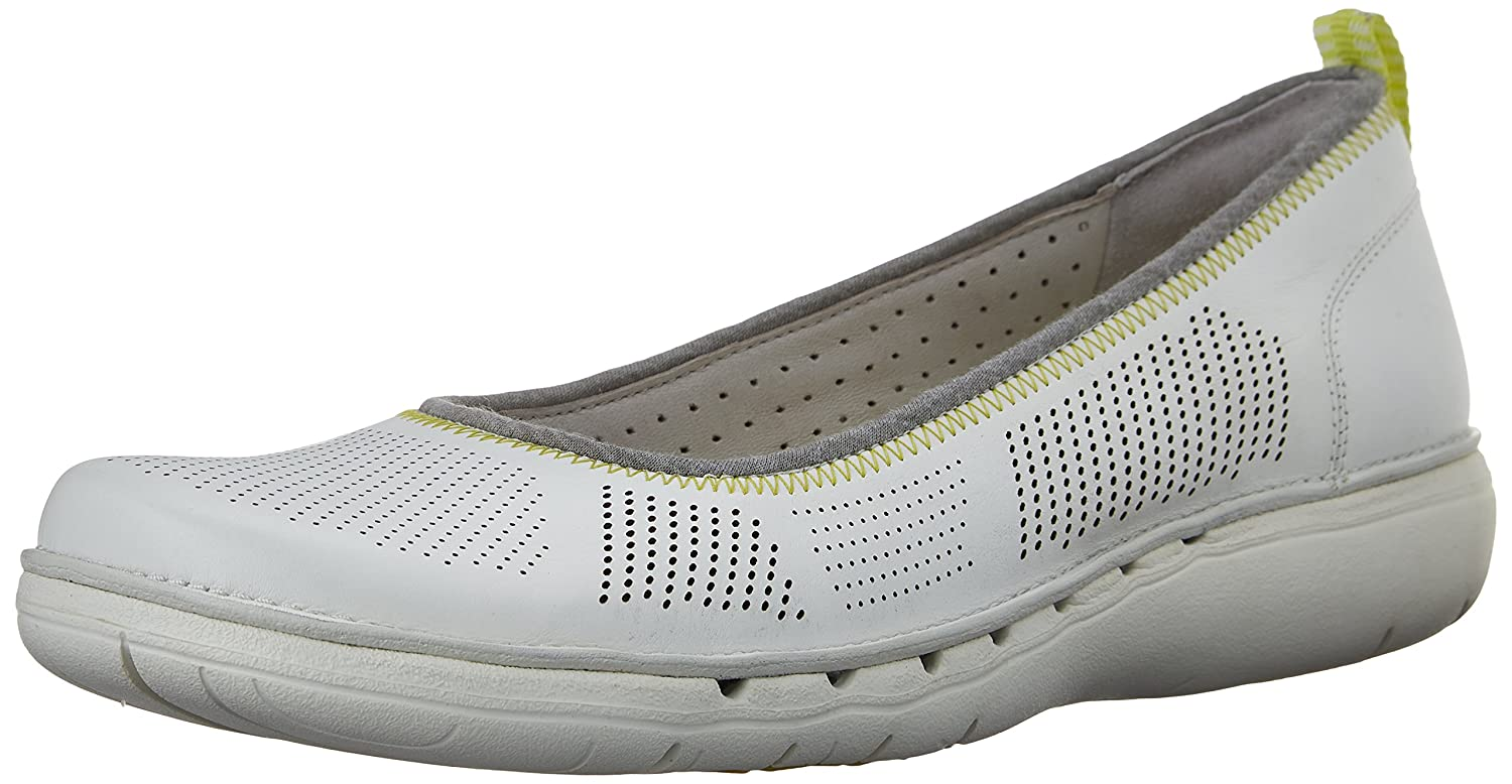 CLARKS Women's Un Elita Flat B011VHSMAK 9 B(M) US|White Leather