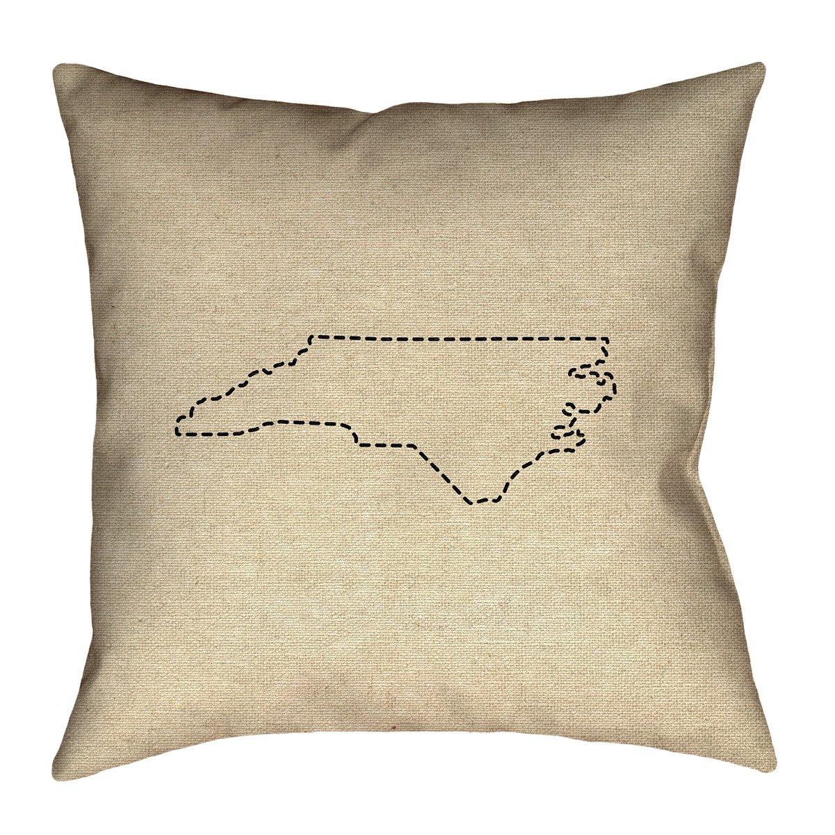 ArtVerse Katelyn Smith 20 x 20 Indoor//Outdoor UV Properties-Waterproof and Mildew Proof North Carolina Outline Pillow