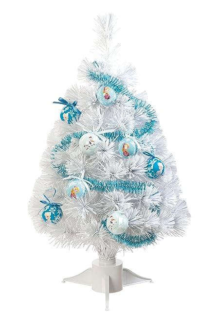 Fibre Optic Christmas Tree With Baubles.Disney Frozen 60cm Fibre Optic Tree With Tinsel And Baubles White
