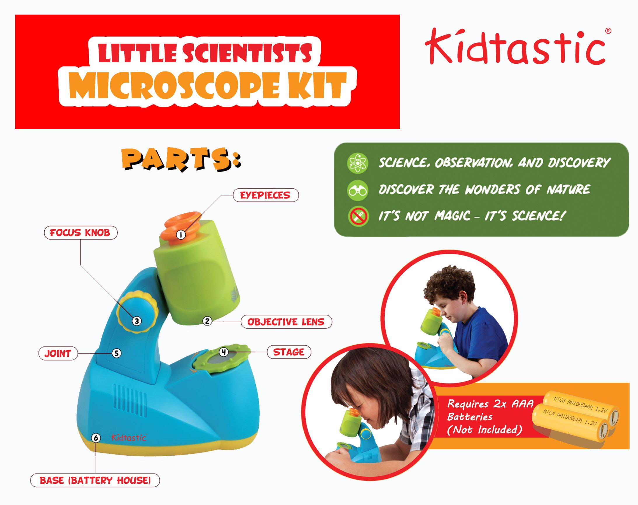 Kidtastic Microscope Science Kit for Kids - Fun Learning Toys for Preschoolers - STEM Toy for 3 Year olds - with 12 Slides Animals & Nature, 8X Zoom, LED Light - for Ages 3, 4, 5, 6 and up by Kidtastic (Image #3)