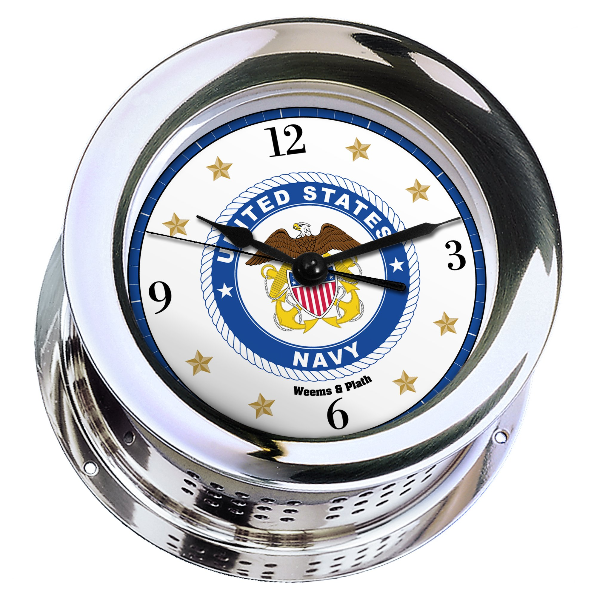 Atlantis Chrome Plated Quartz Ship's Bell Clock #NV220100 01B (#8 Emblem Printed in Full Color with Black Numbers, Gold Stars, and Navy Blue Border)