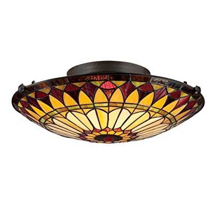 Quoizel TFSVB Light Tiffany Flush Mount In Vintage Bronze - Tiffany kitchen ceiling lights