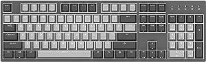 Durgod Taurus K310 Corona Mechanical Gaming Keyboard - 104 Keys - Double Shot PBT - NKRO - USB Type C (Cherry Red, White Backlit)