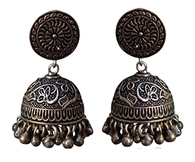 Buy Oscar Black Silver Plated Casual Jhumki Jhumka Earrings For Women Online At Low Prices In India