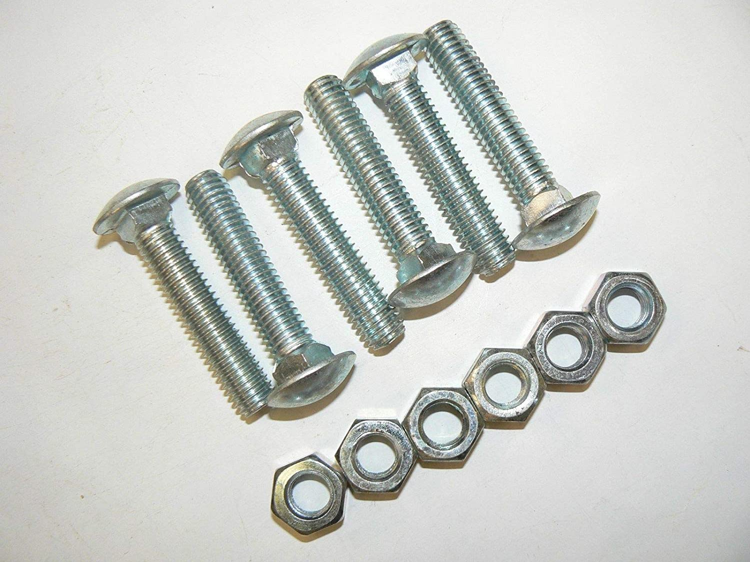 "7//16/""-14 x 2 1//4/"" Carriage Bolts w//Hex Nuts Zinc Full Thread-Lot of 25 Pcs."
