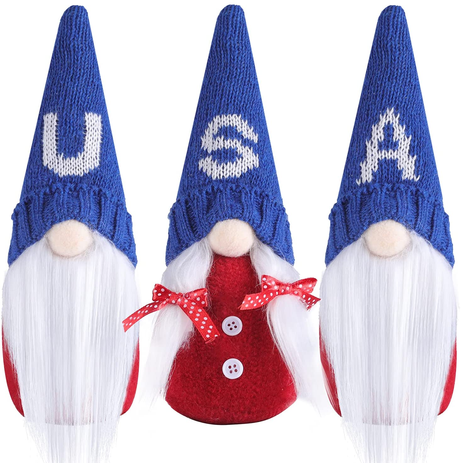 4th of July Patriotic Gnome Plush Elf Decorations - 3PCS Handmade Gnomes Plush American Stars and Stripes Scandinavian Tomte - Fourth of July Veterans Day Gift, Independence Day Home Decoration