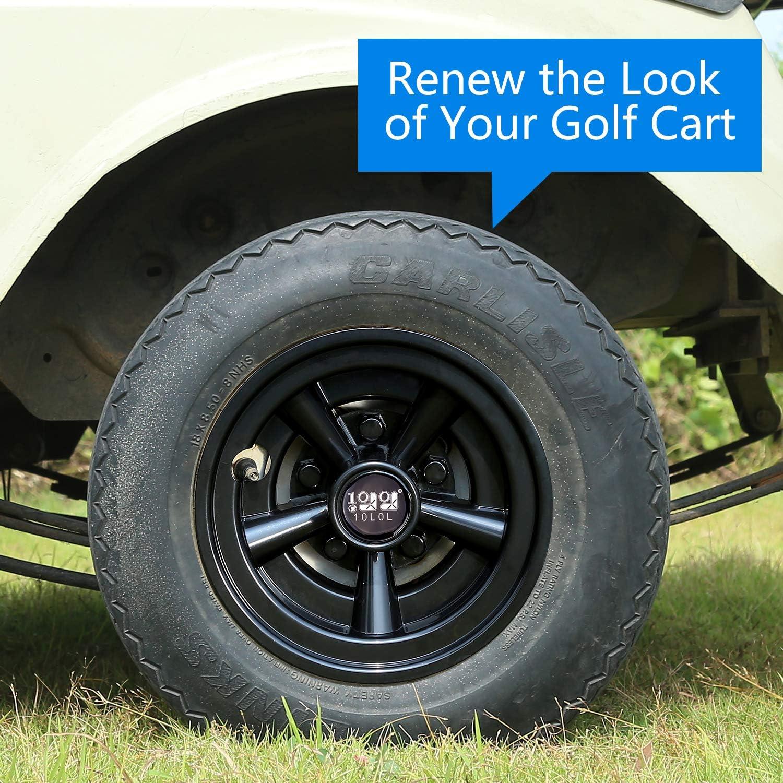 10L0L Golf Cart Wheel Covers Hub Caps (Set of 4), Compatible with EZGO Club Car Yamaha Carts 8