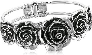 product image for 1928 Jewelry Silver-Tone Black Enamel Flower Cuff Bracelet