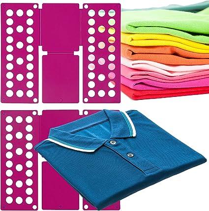 MovilCom® Doblador de Ropa, doblador de Camisas, Tabla para Doblar Camisas, Laundry Folder Fucsia